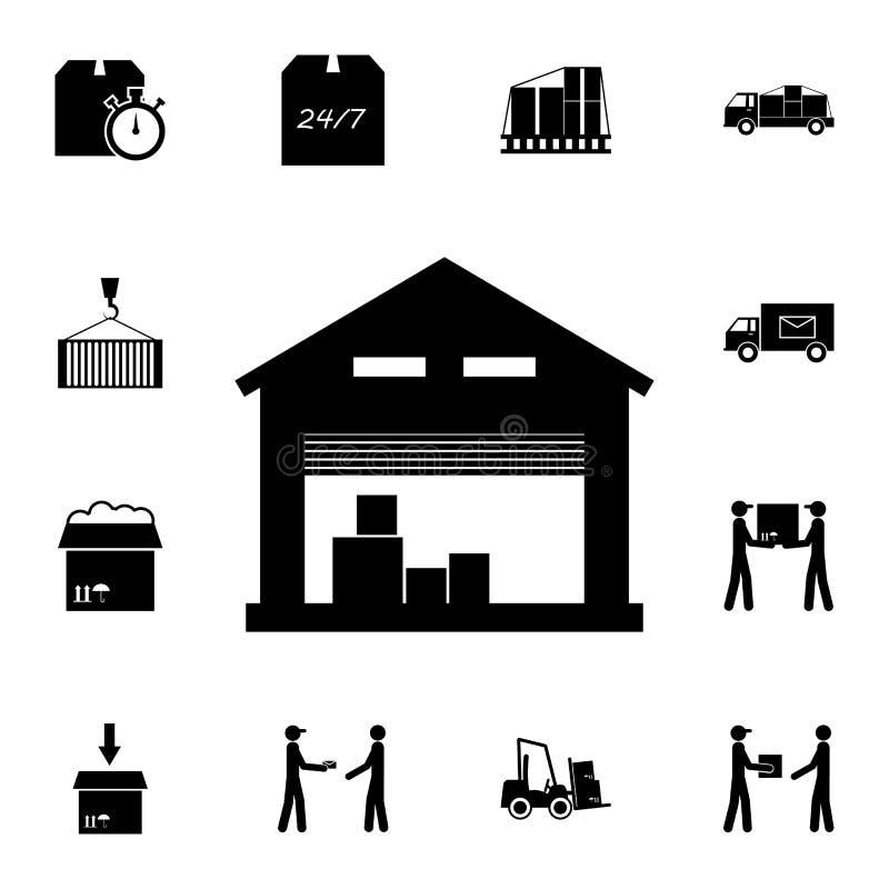 het pictogram van het opslagpakhuis Gedetailleerde reeks logistische pictogrammen Grafisch het ontwerppictogram van de premiekwal vector illustratie
