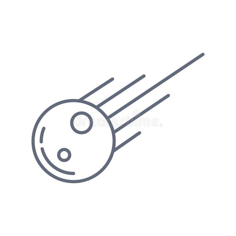 Het pictogram van overzichtsmeteorieten de ge?soleerde zwarte eenvoudige illustratie van het lijnelement van astronomieconcept sl vector illustratie