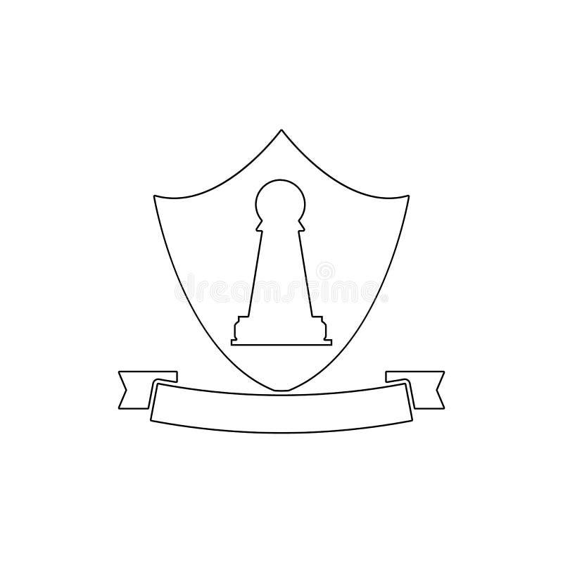 Het pictogram van het pandembleem Element van schaak voor mobiele concept en Web apps illustratie Dun lijnpictogram voor websiteo vector illustratie