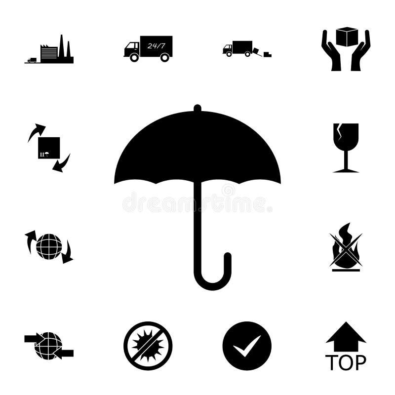 Het pictogram van het parapluteken Gedetailleerde reeks logistische pictogrammen Grafisch het ontwerppictogram van de premiekwali royalty-vrije illustratie