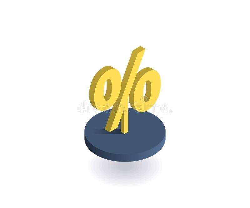 Het pictogram van het percentensymbool Vectorillustratie in vlakke isometrische 3D stijl royalty-vrije illustratie