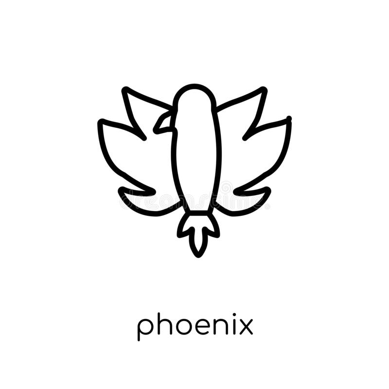 Het pictogram van Phoenix Het in moderne vlakke lineaire vectorpictogram van Phoenix op w stock illustratie