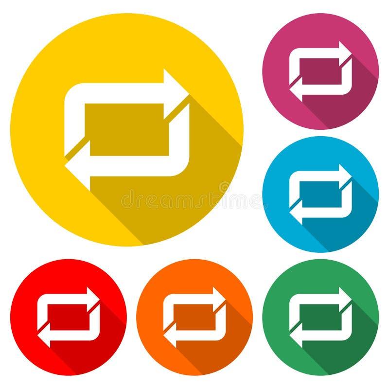 Het pictogram van het pijlherladen of embleem, kleur met lange schaduw wordt geplaatst die stock illustratie