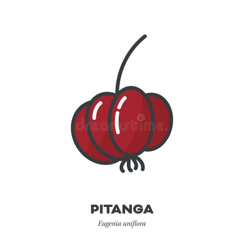 Het pictogram van het Pitangafruit, de gevulde vector van de overzichtsstijl vector illustratie