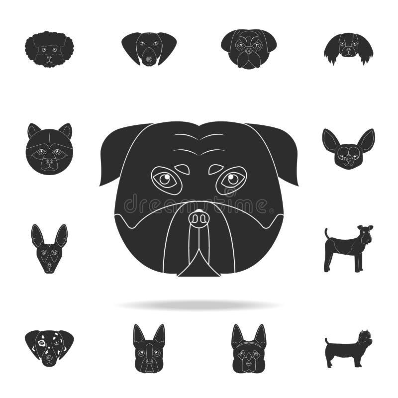 Het pictogram van het Pitbullgezicht Gedetailleerde reeks pictogrammen van het hondsilhouet Premie grafisch ontwerp Één van de in royalty-vrije illustratie