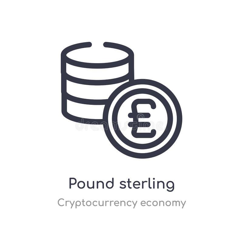 het pictogram van het pond Sterlingoverzicht ge?soleerde lijn vectorillustratie van de inzameling van de cryptocurrencyeconomie e vector illustratie