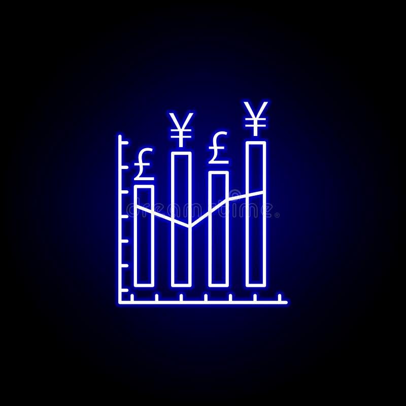 het pictogram van het pondyuans van de grafiekgrafiek in neonstijl Element van financi?nillustratie Tekens en symbolen het pictog vector illustratie