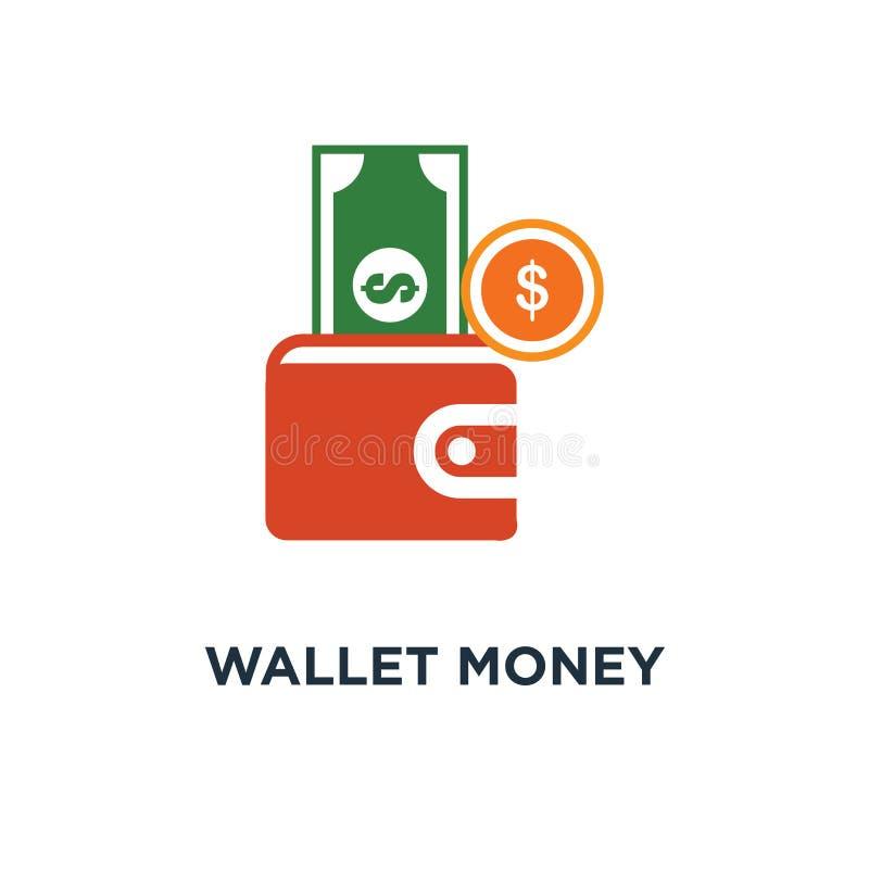 Het pictogram van het portefeuillegeld van portefeuille met het symboolontwerp van het geldconcept, F royalty-vrije illustratie