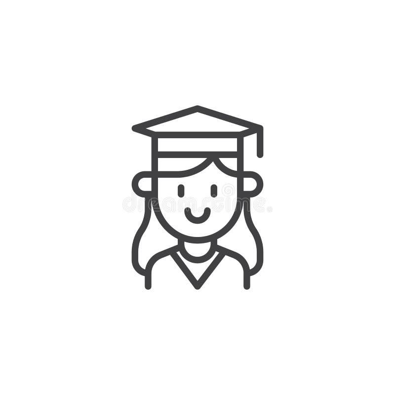 Het pictogram van het het portretoverzicht van het studentenmeisje stock illustratie