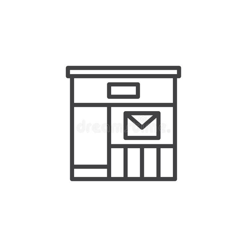 Het pictogram van het postkantooroverzicht royalty-vrije illustratie