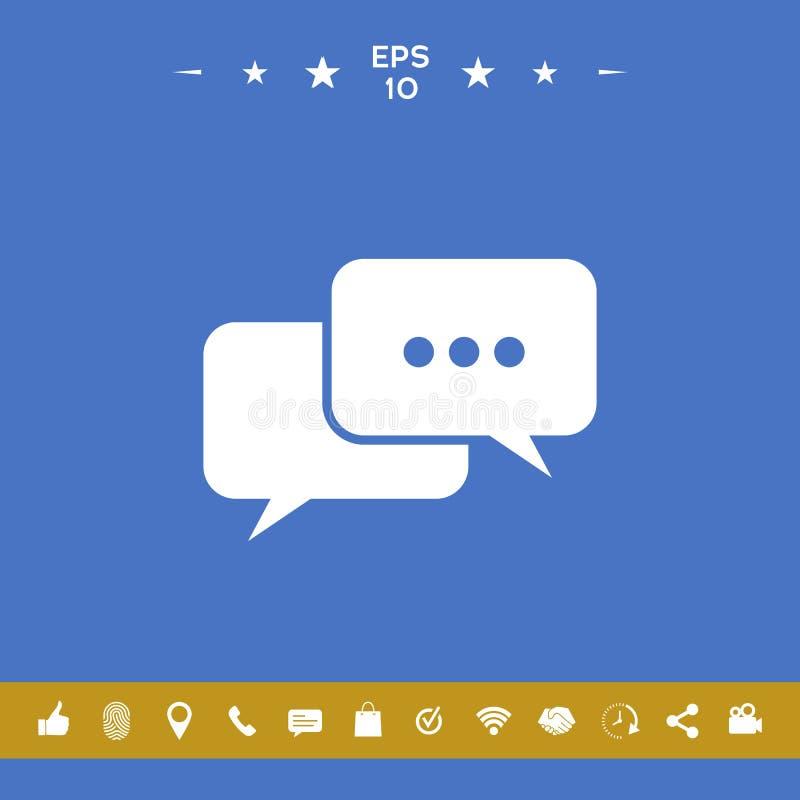 Het pictogram van het praatjesymbool stock illustratie