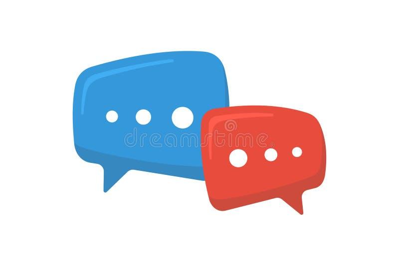 Het pictogram van het praatjeteken Online hulpmededeling twee het overlappende symbool van toespraakbellen Vector illustratie royalty-vrije illustratie
