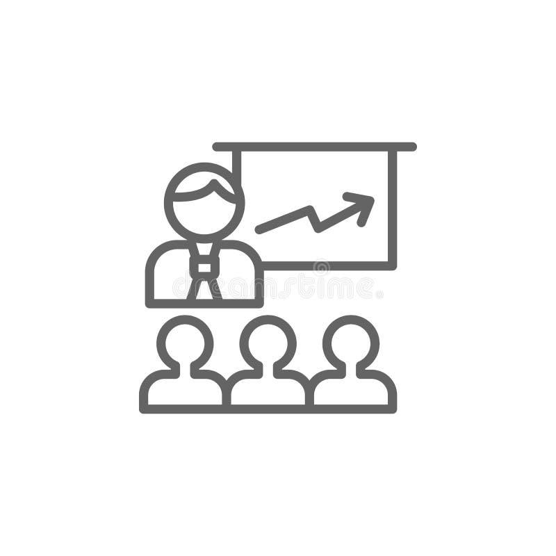 Het pictogram van het presentatieoverzicht Elementen van het pictogram van de Bedrijfsillustratielijn De tekens en de symbolen ku stock illustratie
