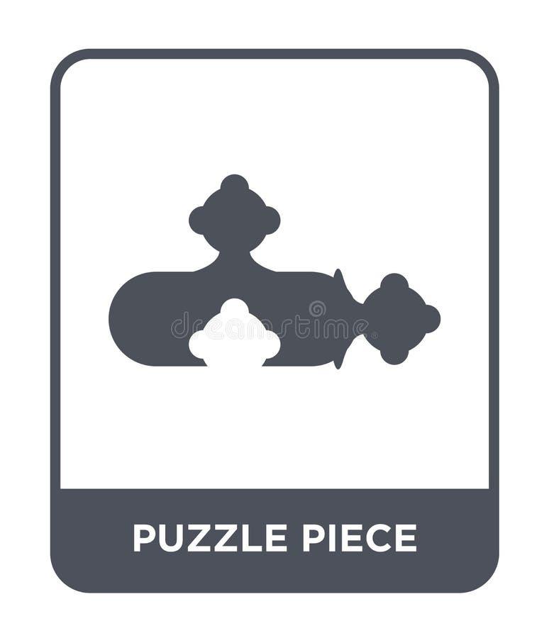 het pictogram van het raadselstuk in in ontwerpstijl het pictogram van het raadselstuk op witte achtergrond wordt geïsoleerd die  royalty-vrije illustratie