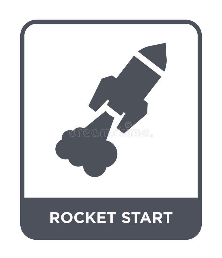 het pictogram van het raketbegin in in ontwerpstijl het pictogram van het raketbegin op witte achtergrond wordt geïsoleerd die he vector illustratie
