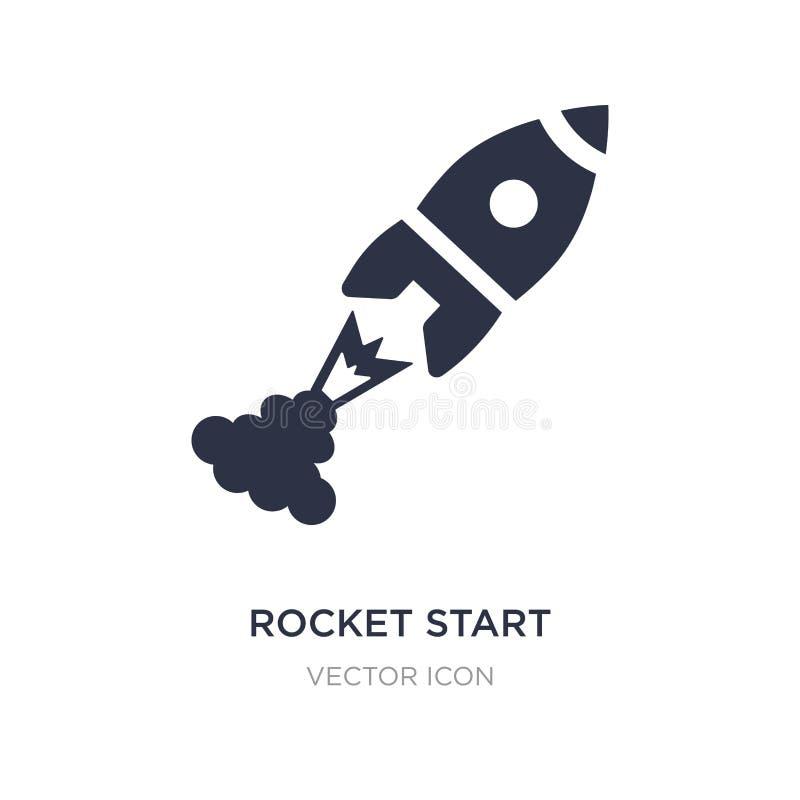 het pictogram van het raketbegin op witte achtergrond Eenvoudige elementenillustratie van Astronomieconcept royalty-vrije illustratie