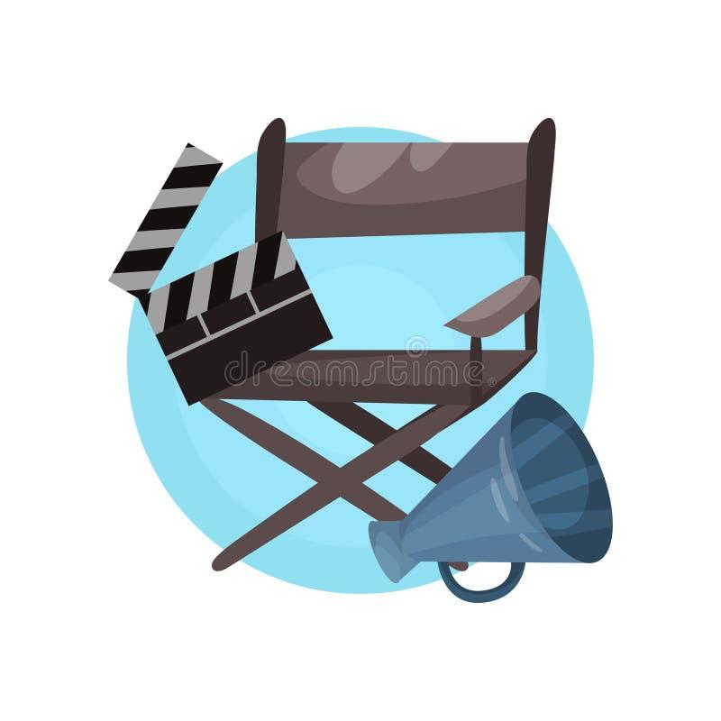 Het pictogram van het regisseurberoep, van het het materiaalbeeldverhaal van de bioskoopindustrie de vectorillustratie vector illustratie