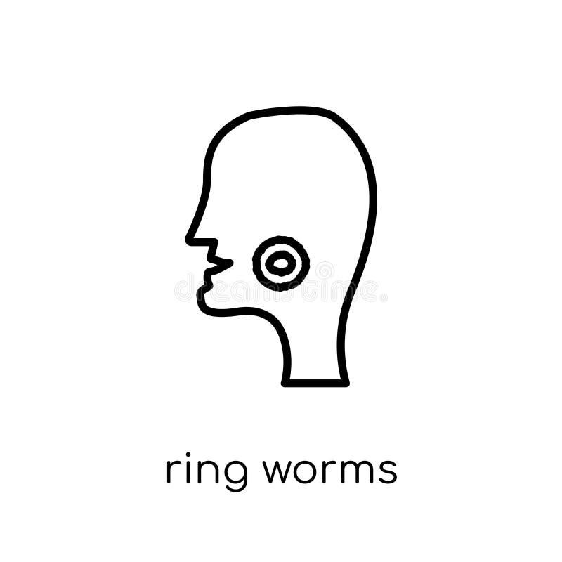 Het pictogram van ringswormen In moderne vlakke lineaire vectorico van Ringswormen stock illustratie