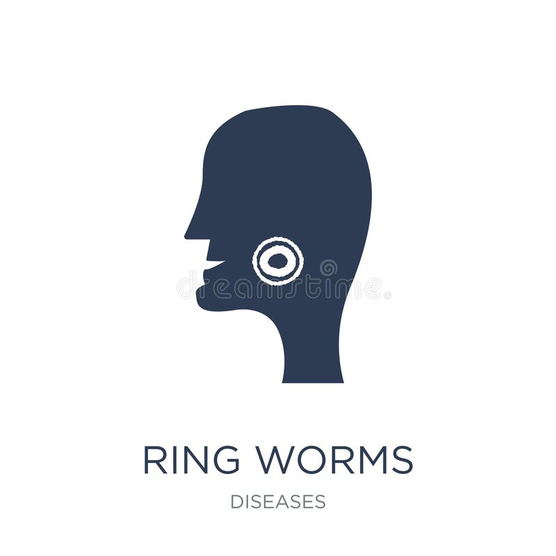 Het pictogram van ringswormen Het in vlakke vectorpictogram van Ringswormen op witte bac royalty-vrije illustratie