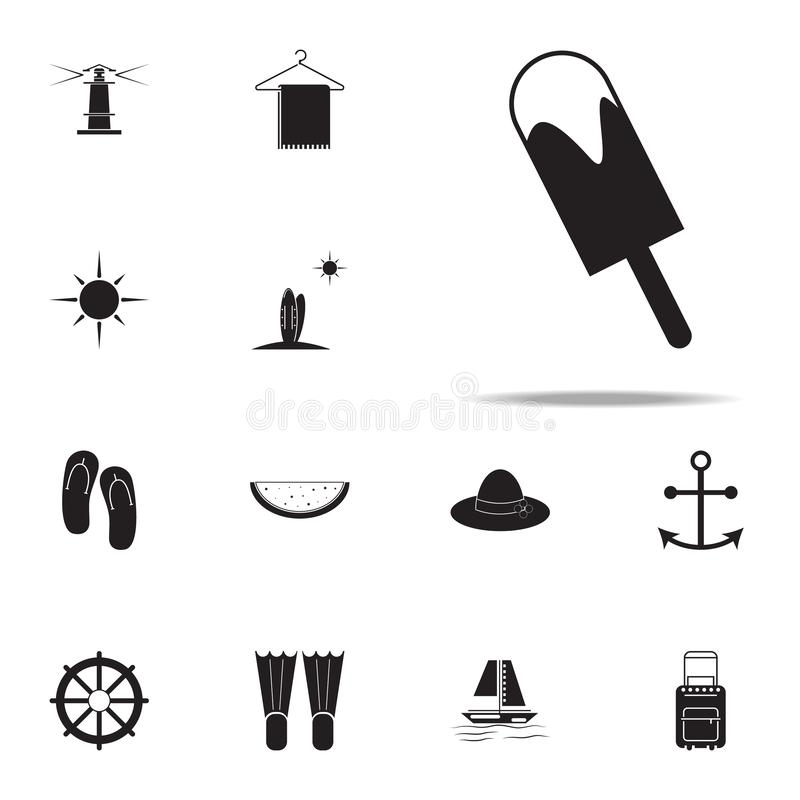 Het pictogram van het roomijs voor Web wordt geplaatst dat en mobiel de pictogrammenalgemeen begrip van het de zomergenoegen stock illustratie