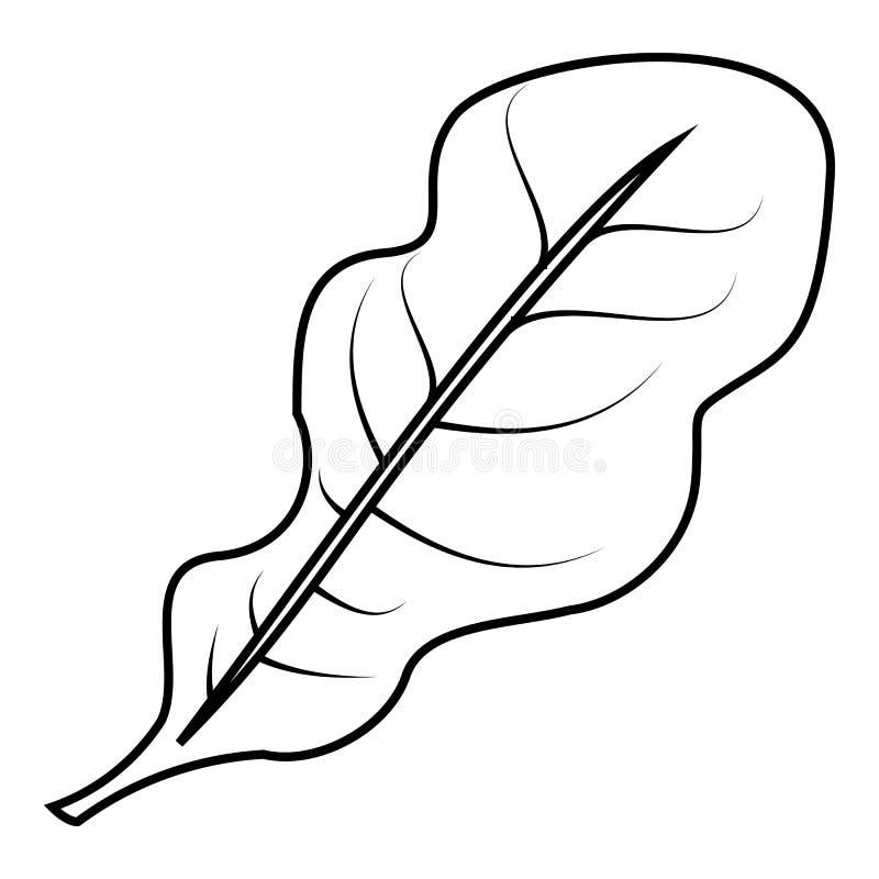 Het pictogram van saladebladeren, overzichtsstijl vector illustratie