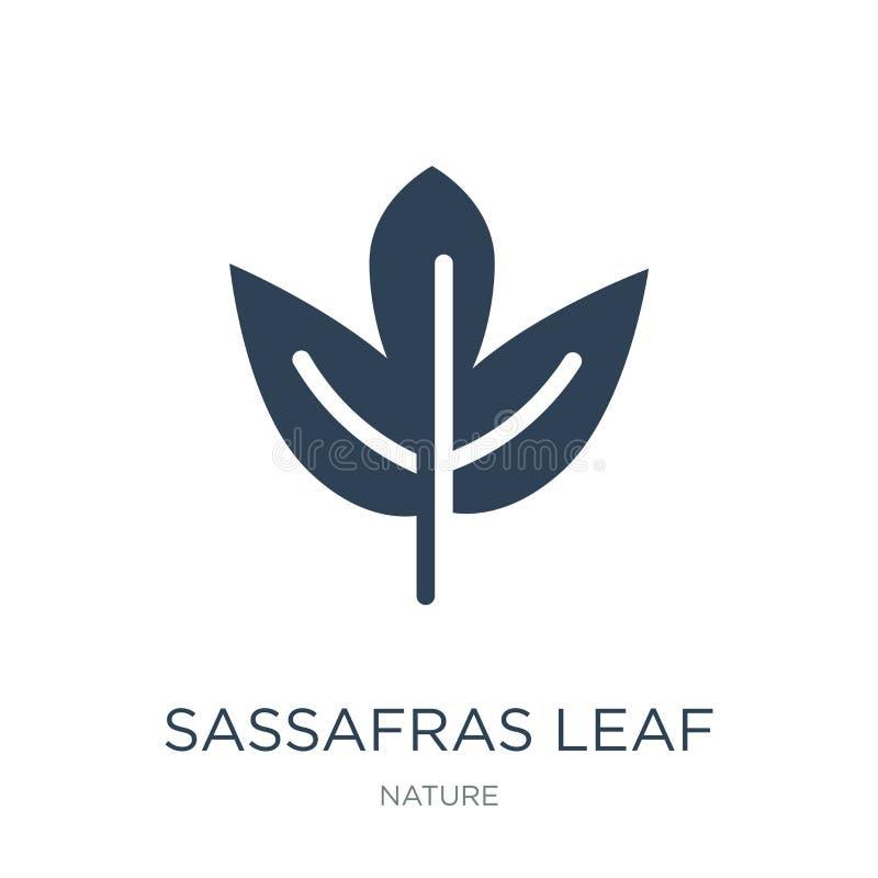 het pictogram van het sassafrasblad in in ontwerpstijl het pictogram van het sassafrasblad op witte achtergrond wordt geïsoleerd  vector illustratie