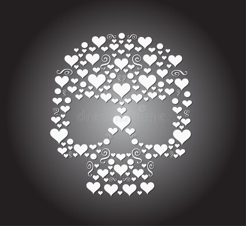 Het pictogram van schedelharten stock illustratie