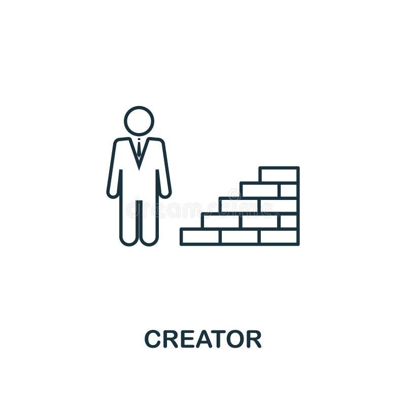 Het pictogram van het schepperoverzicht Dun lijnelement van het crowdfunding van pictogrammeninzameling UI en UX Pictogram van de stock illustratie