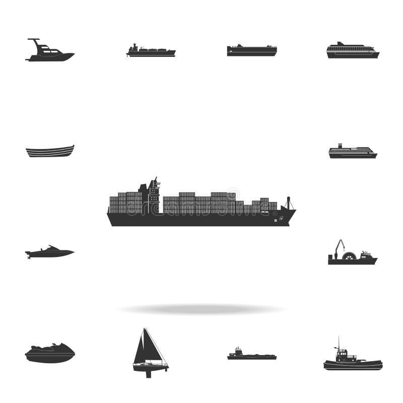 Het Pictogram van het Schip van de container Gedetailleerde reeks pictogrammen van het watervervoer Premie grafisch ontwerp Één v vector illustratie