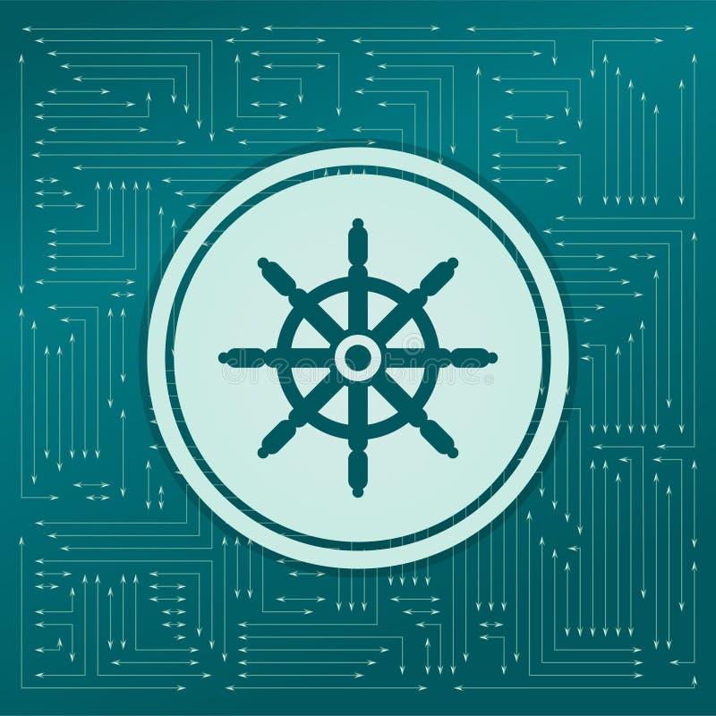 Het pictogram van het schipstuurwiel op een groene achtergrond, met pijlen in verschillende richtingen Het verschijnt op de elekt vector illustratie