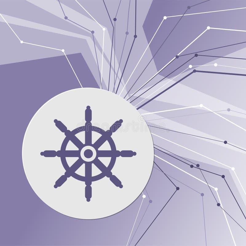 Het pictogram van het schipstuurwiel op purpere abstracte moderne achtergrond De lijnen in alle richtingen Met ruimte voor uw rec stock illustratie