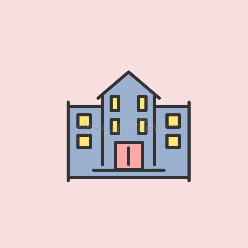 het Pictogram van schoolgebouwen Element van kleurenonderwijs voor mobiele concept en Web apps illustratie Dun lijnpictogram voor royalty-vrije illustratie