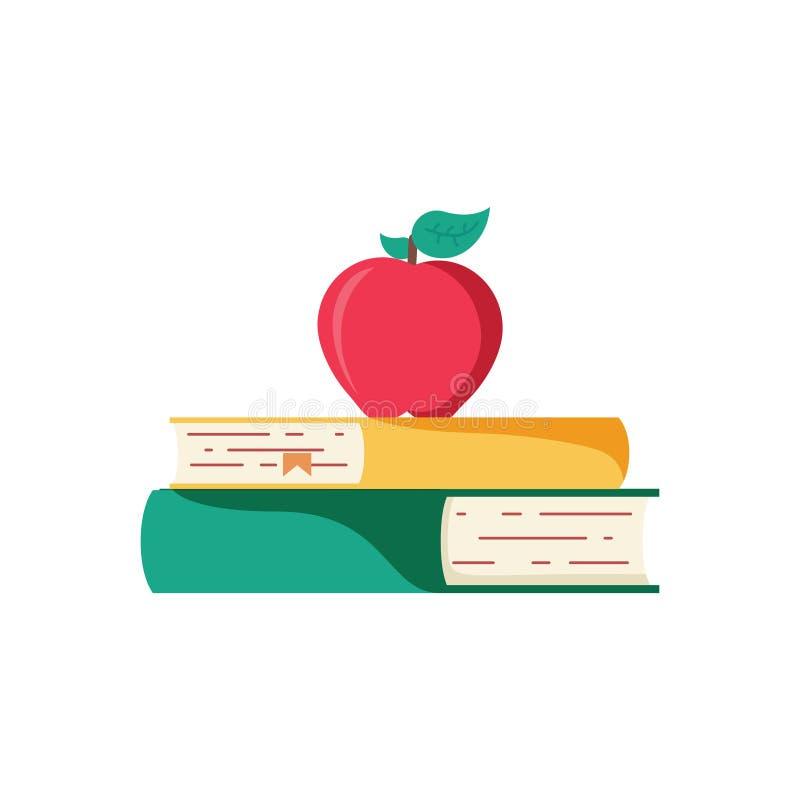het pictogram van het schoolonderwijs terug naar schoolboeken met appelpictogram kleurrijk beeldverhaalpictogram voor onderwijs e vector illustratie