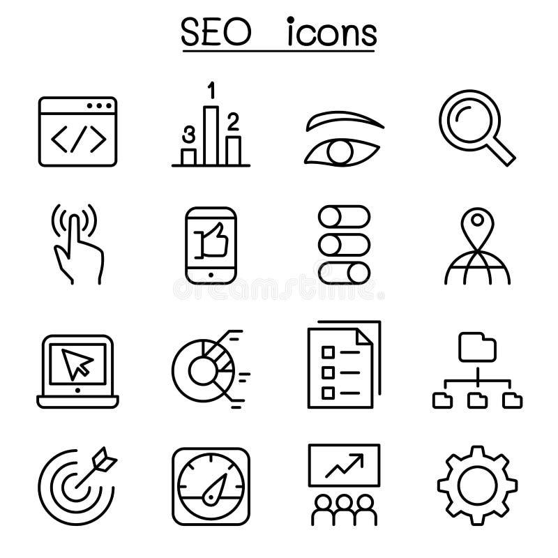 Het pictogram van SEO & van de Optimalisering dat in dunne lijnstijl wordt geplaatst royalty-vrije illustratie