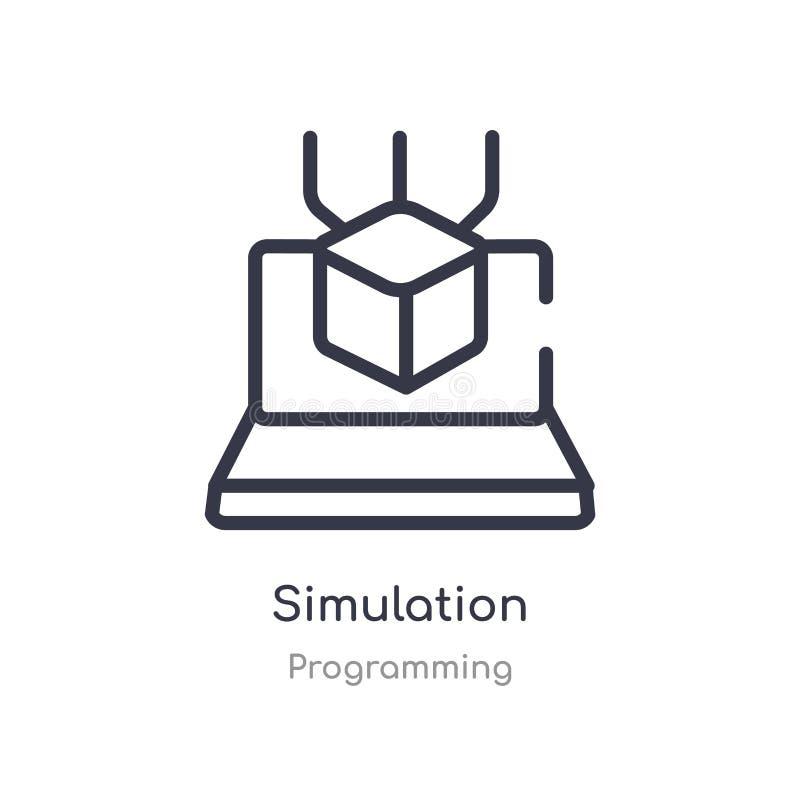 het pictogram van het simulatieoverzicht ge?soleerde lijn vectorillustratie van de programmering van inzameling het editable dunn royalty-vrije illustratie
