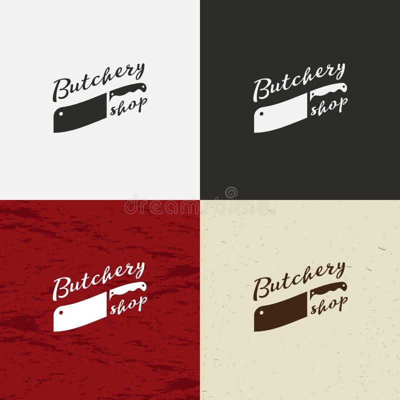 Het pictogram van slagersShop, het embleem van SlagersShop, het geïsoleerde embleem van SlagersShop Koegezicht en messen retro il royalty-vrije illustratie