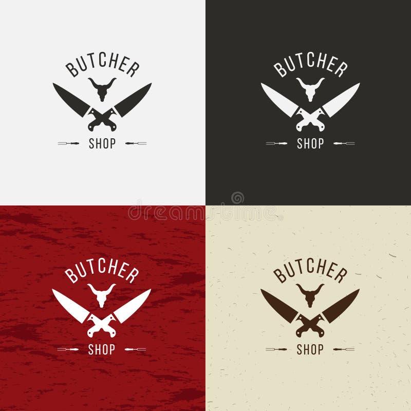 Het pictogram van slagersShop, het embleem van SlagersShop, het geïsoleerde embleem van SlagersShop Koegezicht en messen retro il vector illustratie