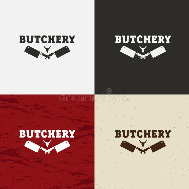 Het pictogram van slagersShop, het vectorembleem van SlagersShop, het embleem van SlagersShop Koegezicht en messen retro vectoril royalty-vrije illustratie