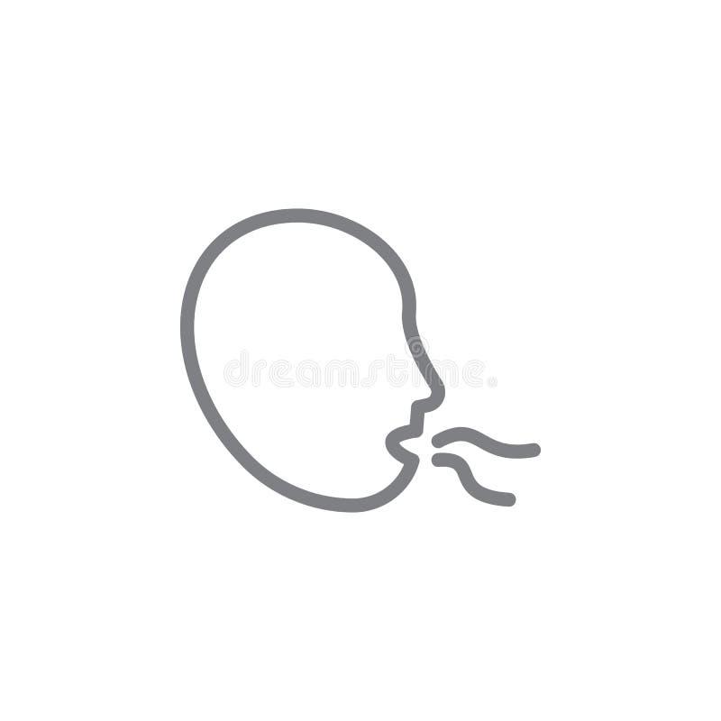 Het pictogram van het slechte ademoverzicht Elementen van het rokende pictogram van de activiteitenillustratie De tekens en de sy stock illustratie