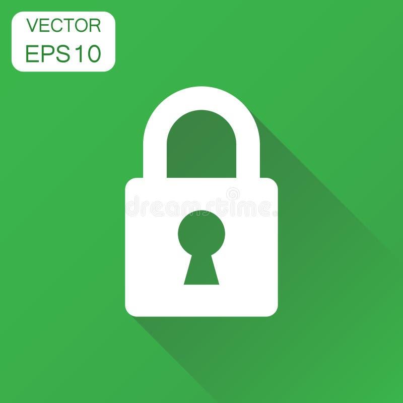 Het pictogram van het slot De kastpictogram van het bedrijfsconceptenhangslot Zieke vector vector illustratie