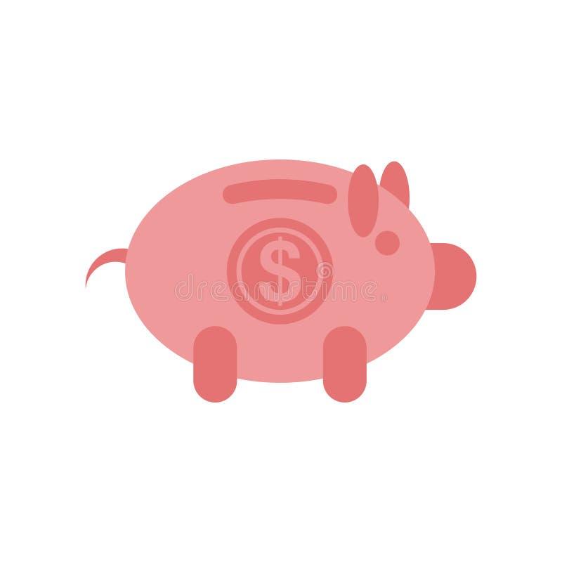 Het pictogram van het spaarvarken op witte achtergrond wordt geïsoleerd die royalty-vrije illustratie