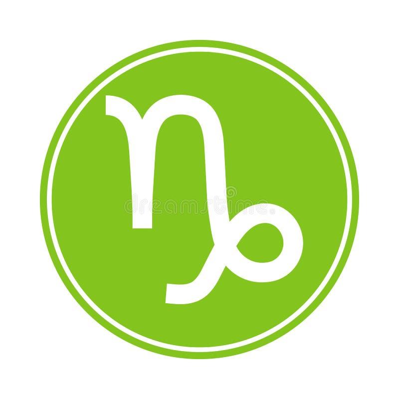 Het pictogram van Steenbok Vector Astrologisch, Horoscoopteken Dierenriemsymbool Aardeelement sticker Vectordieillustratie op wit vector illustratie