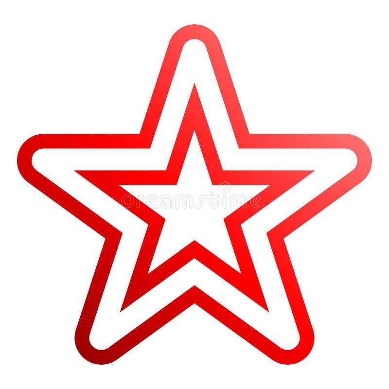 Het pictogram van het stersymbool - rood hol geïsoleerd gradiëntoverzicht, 5 gericht rond gemaakt, - vector vector illustratie