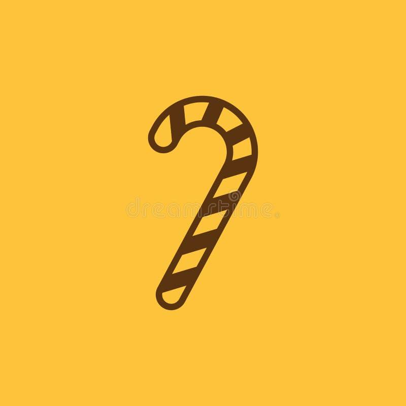 Het pictogram van het suikergoedriet Nieuwe jaar en Kerstmis, Kerstmis, de wintersymbool Vlak Ontwerp Voorraad - Vectorillustrati vector illustratie