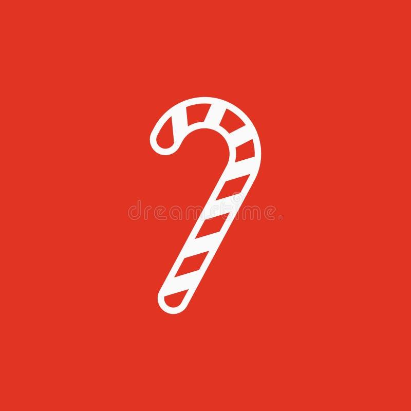 Het pictogram van het suikergoedriet Nieuwe jaar en Kerstmis, Kerstmis, de wintersymbool Vlak Ontwerp Voorraad - Vectorillustrati stock illustratie