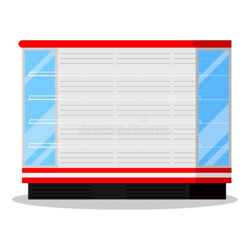 Het pictogram van supermarkt of de winkel demonstreert koelkast voor het koelen van zuiveldieproducten op witte achtergrond worde stock illustratie