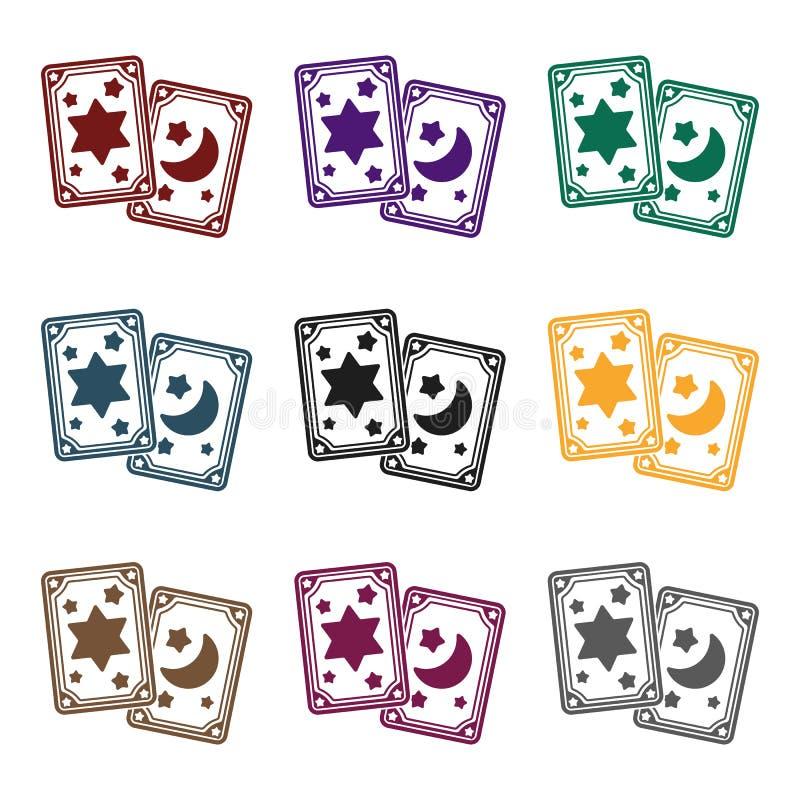 Het pictogram van tarotkaarten in zwarte die stijl op witte achtergrond wordt geïsoleerd De zwart-witte magische vectorillustrati vector illustratie