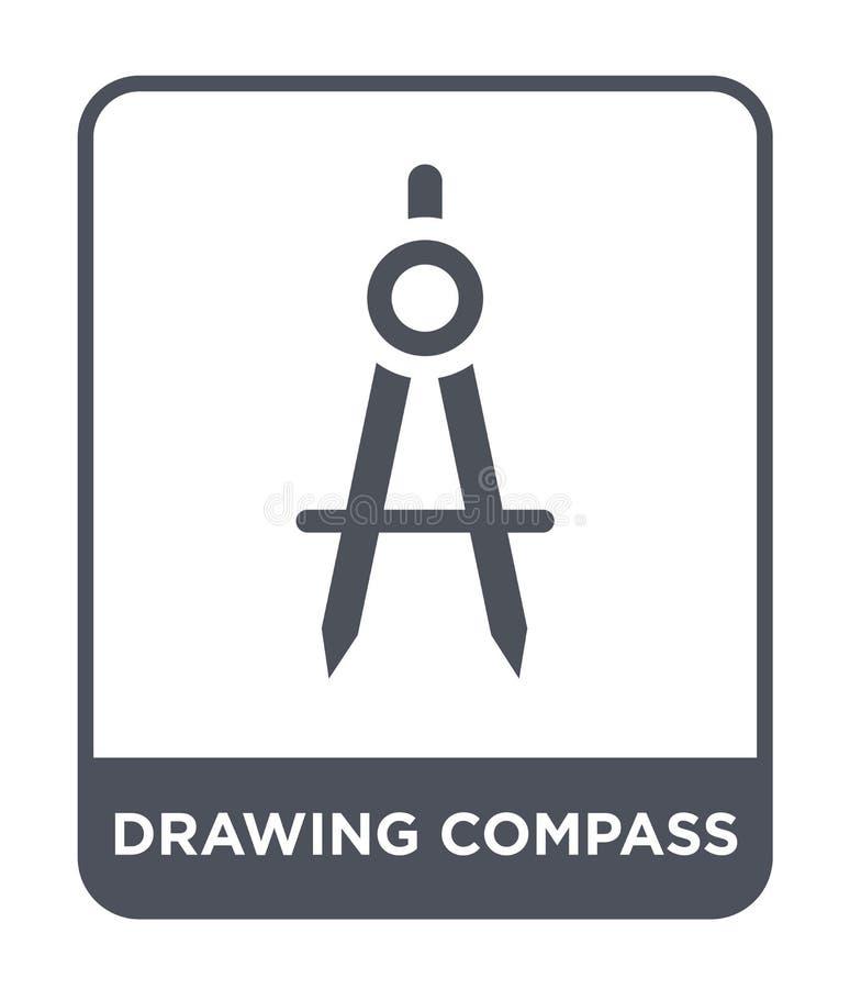 het pictogram van het tekeningskompas in in ontwerpstijl het pictogram van het tekeningskompas op witte achtergrond wordt geïsole vector illustratie