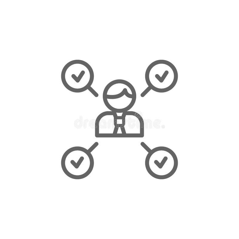 Het pictogram van het het tekenoverzicht van de takenmens Elementen van het pictogram van de Bedrijfsillustratielijn De tekens en vector illustratie