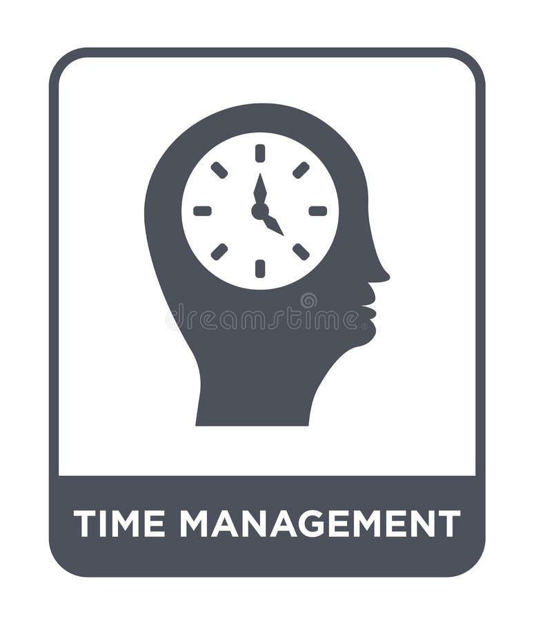 het pictogram van het tijdbeheer in in ontwerpstijl het pictogram van het tijdbeheer op witte achtergrond wordt geïsoleerd die he royalty-vrije illustratie